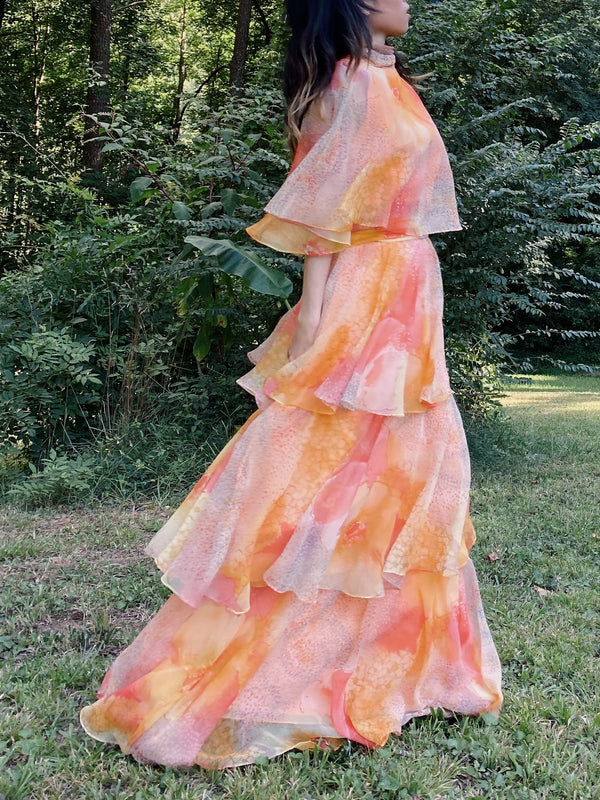 1960s Abstract Layered Chiffon Gown - S/M