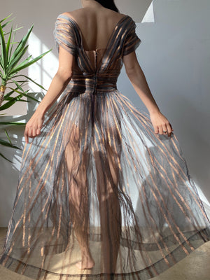 1950s Metallic Striped Sheer Dress - XS