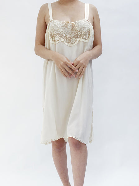 1920s Silk Crepe Embroidered Flapper Step-In - M