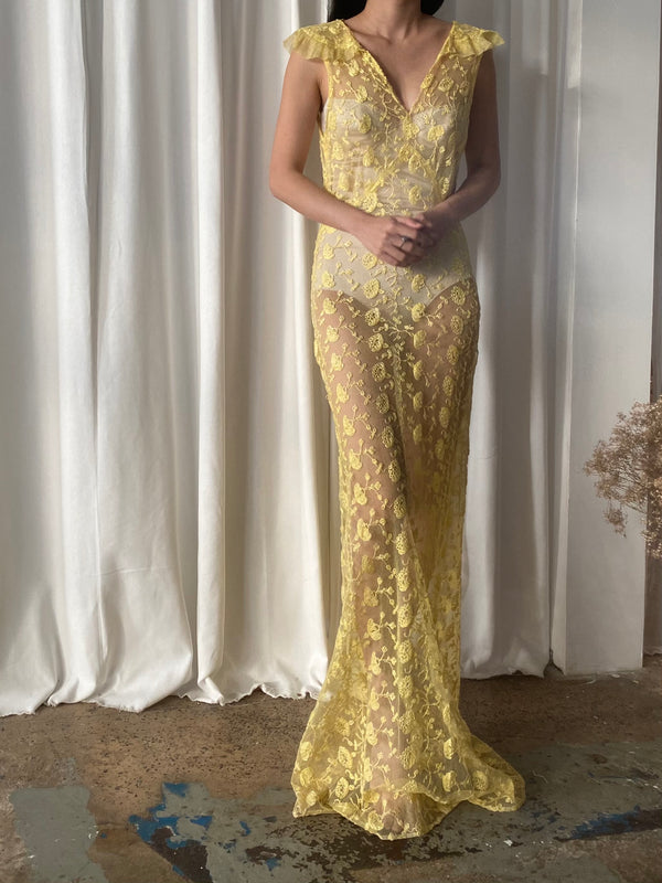 1930 Yellow Lace Gown - XS