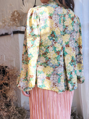 1930s Green Floral Silk Top - OSFM