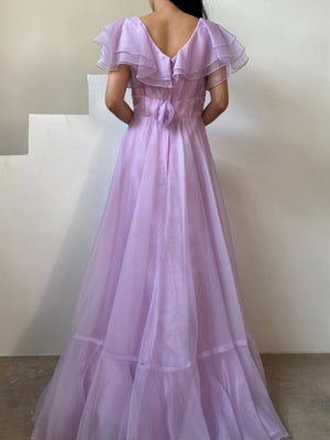 Vintage Lavender Nylon Chiffon Dress - XS/S