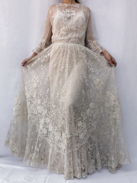 Rare Antique Mixed Lace Gown - S