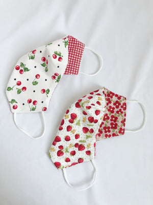 2-in-1 Reversible Face Mask Dotted Strawberries or Cherries