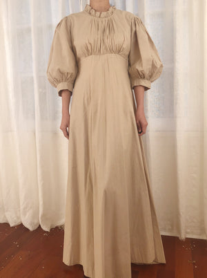 Vintage Beige Cotton Puff Sleeve Dress - XS