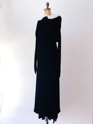 1930s Bias Cut Silk Velvet Gown with Mink Collar - S