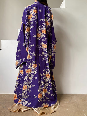 Antique Purple Silk Crepe Kimono - One Size