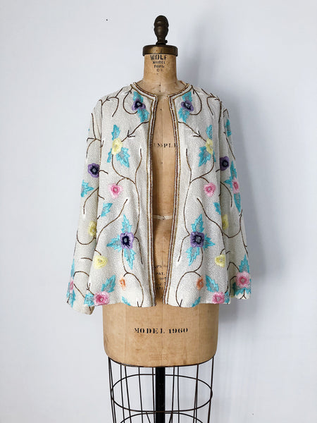 1980s Silk Floral Embroidered Textured Jacket - S