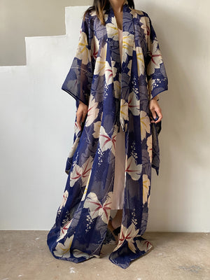 Antique Sheer Blue Floral Silk Summer Kimono - One Size