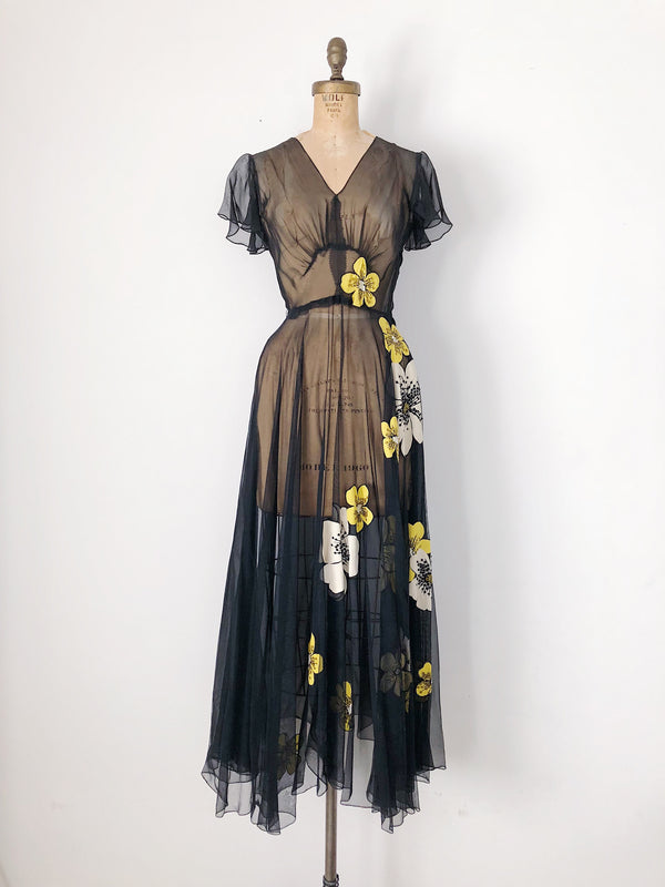 1930s Sheer Black Chiffon Gown with Florals - XS
