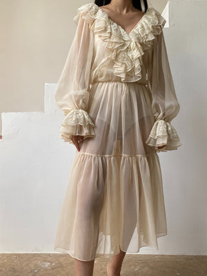 Vintage Chiffon Ruffle Dress - M/L