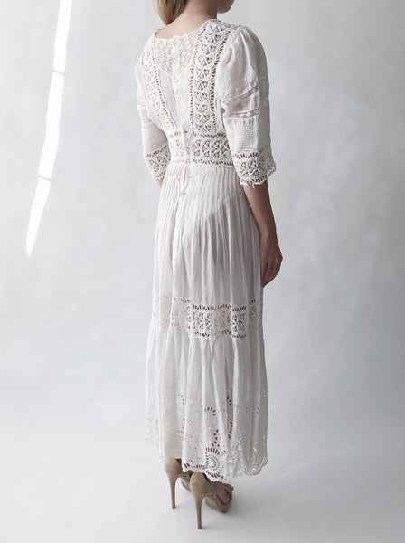 Edwardian Cotton 3/4 Sleeves Dress - XS