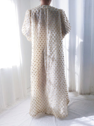 1960s Organza Metallic Dot Duster/Hostess Robe - M