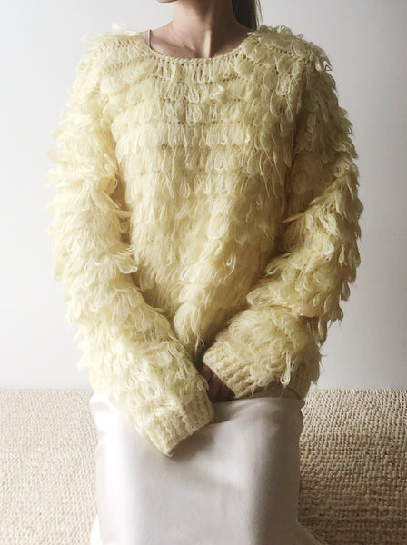 1970s Yellow Shaggy Pullover - M