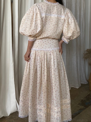 Vintage Calico Cotton Puff Sleeve Dress - S/M