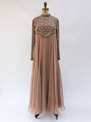 1960s Mocha Chiffon Beaded Gown - M