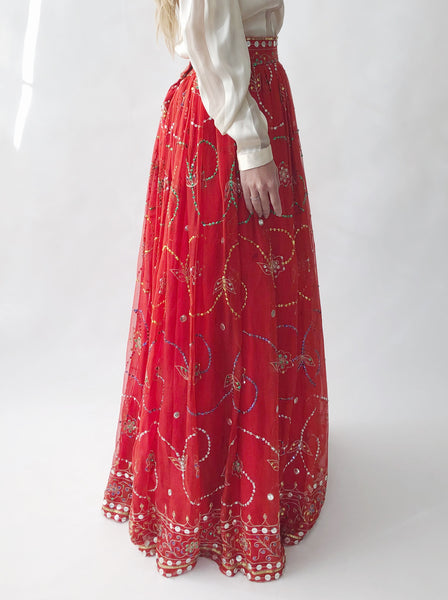 1960s Red Silk Chiffon Skirt - S/M