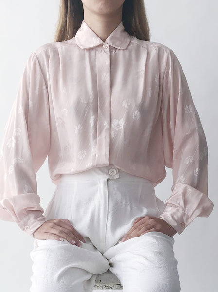 Vintage Pink Patterned Blouse - S/M