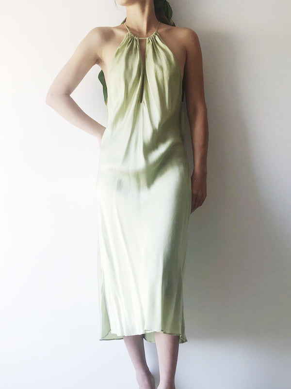 Vintage Green Silk Slip Dress - M/L