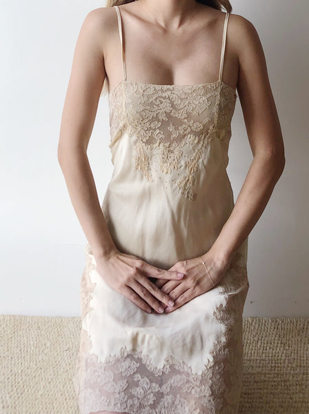 1930s Detailed Ivory Silk Step-In Slip - S/M