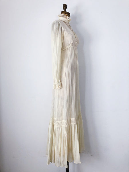 1970s High Neck Cotton Gauze Dress - XS/S