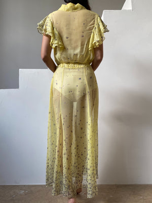 1930s Yellow Silk Chiffon Dress - S