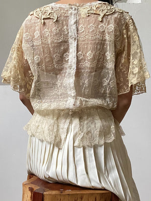 Vintage Top with Mixed Antique Lace - M