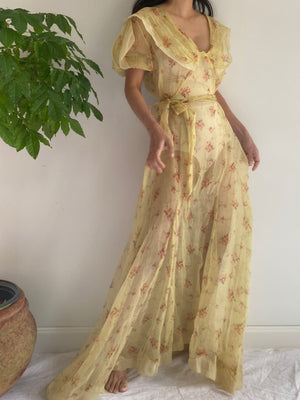 1930s Organdy Floral Print Gown - M