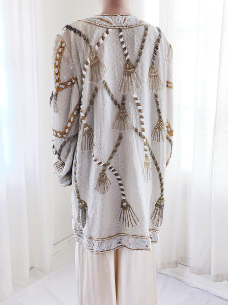 1980s Ivory and Gold Silk Beaded Duster - M/L