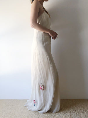 1930s Ivory Silk Net Chiffon Dress With Appliqués - S