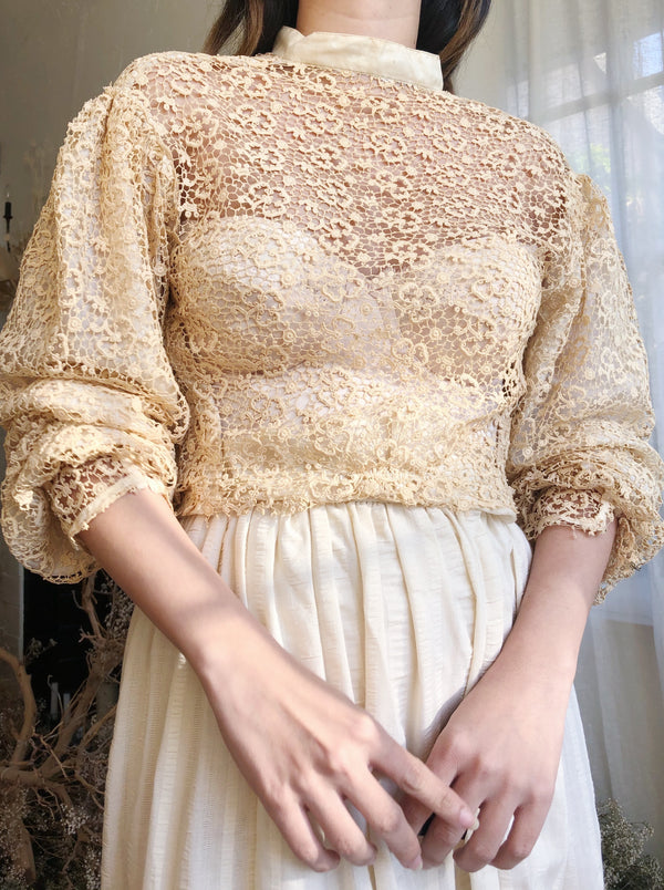 Antique Chemical Lace Top - XS