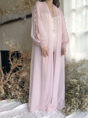 Vintage Light Pink Poet Sleeve Duster - One Size