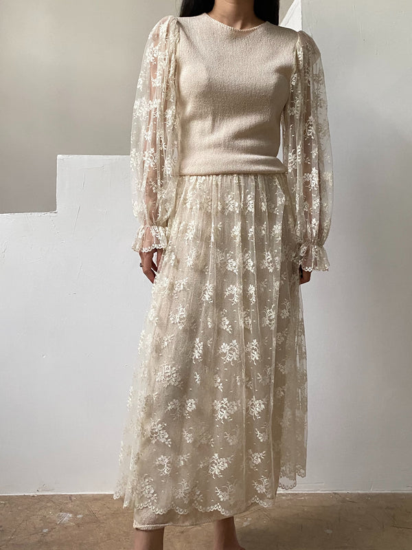 Vintage Poet Sleeve Knit Dress - M