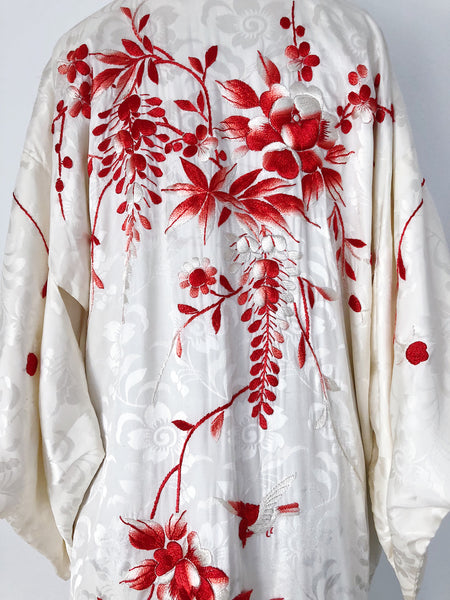 1950s Ivory Rayon Embroidered Kimono - One Size