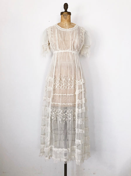 Edwardian Tulle and Embroidered Lace Dress - XS