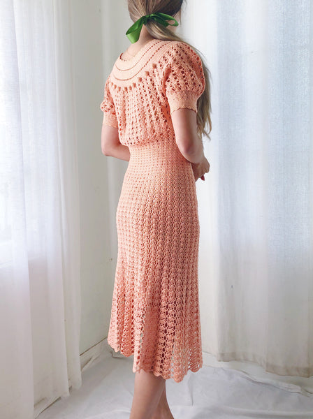 1940s Salmon Vintage Knit Crochet Dress - XS