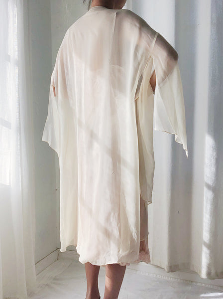 Vintage Champagne Silk Beaded Short Kimono Duster  - One Size
