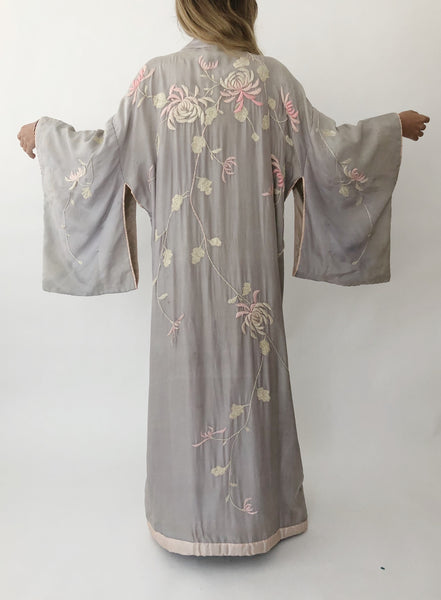 Antique Lavender Silk Embroidered Kimono - One Size
