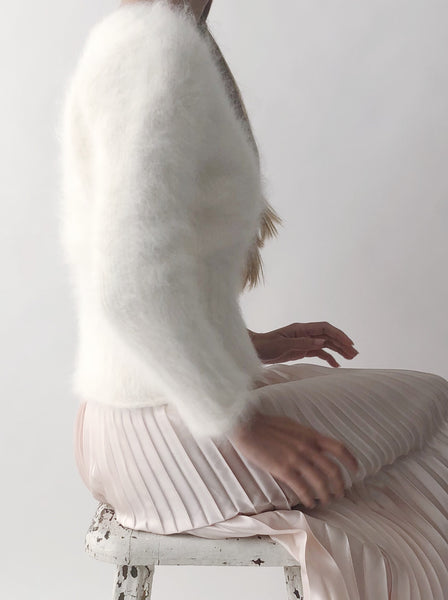 Vintage Ivory Mohair Sweater - S