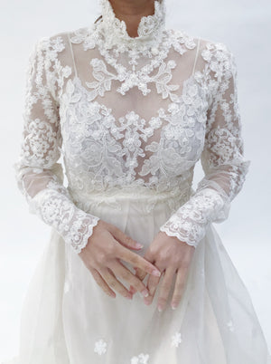 1950s Corded Lace Wedding Gown - XS/S
