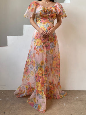 1980s does 1930s Floral Voile Dress - S
