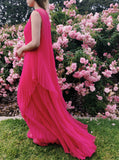 1960s Fuchsia Pleated Chiffon Dress - S/M