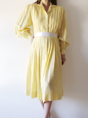 Vintage Yellow Silk Dress/Duster - S-M