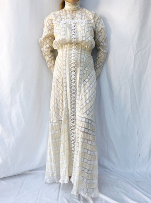 Antique Ribbon and Lace Insert Gown - XS