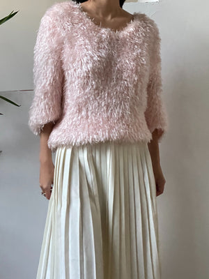 Vintage 90s Pink Fuzzy Top - S/M