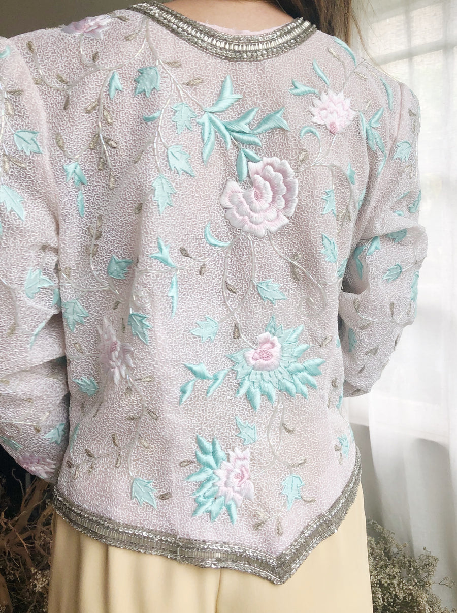 1980s Silk Organza Embroidered Jacket - M/L