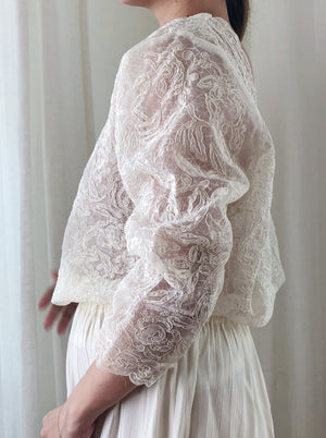1950s Lace Nylon Blouse - M/L