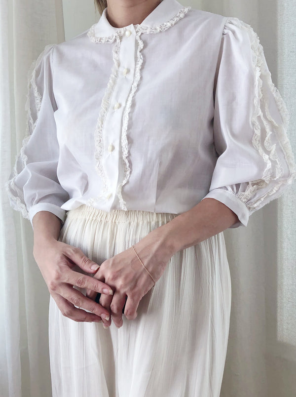 1950s Cotton Short Puff Sleeve Blouse - S