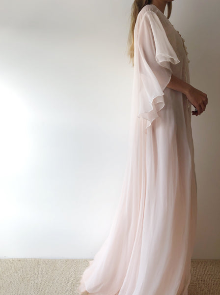1980s Light Pink Chiffon Dressing Gown - One Size