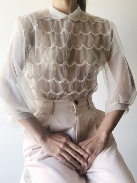 1950s Sheer Embroidered Scalloped Top - S/M